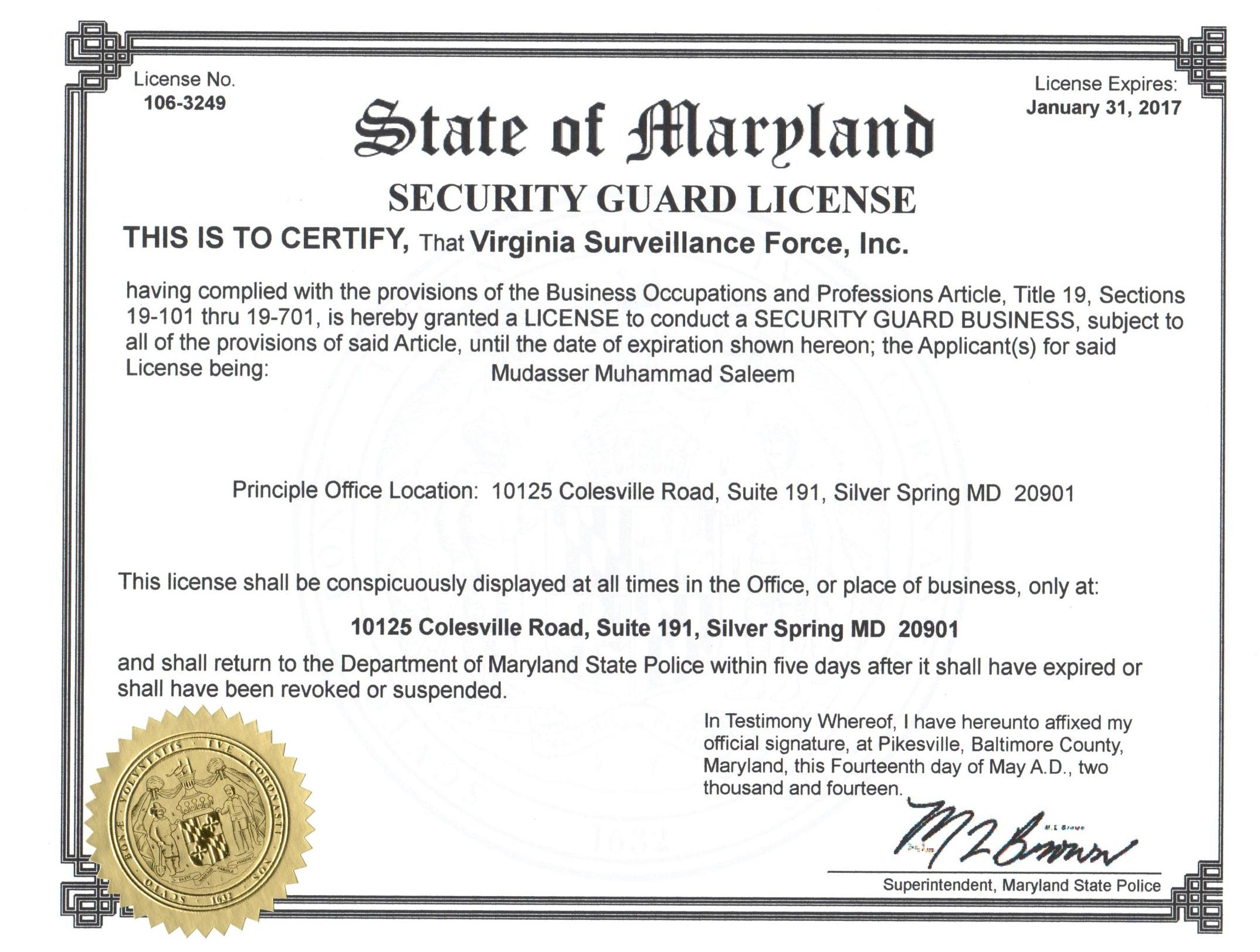 Maryland Armed Security Office Corporate Vehicle Patrol Service